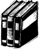 Ilustración de xilografía de libros — Vector de stock