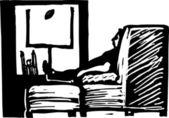 Vector Illustration of Man Watching Football on TV — Stock Vector