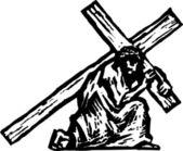 基督十字架携带的木刻插图 — 图库矢量图片