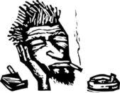 Vector Illustration of Beatnik Man Smoking Cigarettes — Stock Vector