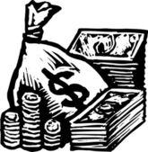Woodcut illustration of Cash — Stock Vector