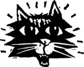 Illustration de la gravure sur bois du chat — Vecteur