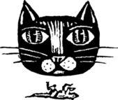 ксилография иллюстрации кошки — Cтоковый вектор