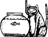 Illustrazione di xilografia del gatto — Vettoriale Stock