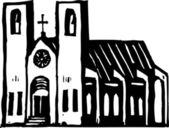 Woodcut Illustration of Church Cathedral — Vetorial Stock