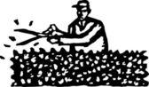 Vector Illustration of Gardener Clipping Hedge — Stock Vector