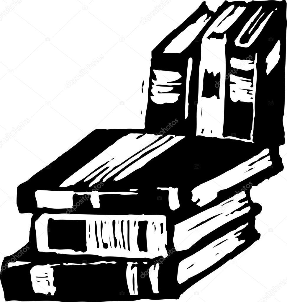 Woodcut Illustration of Books — Stock Vector © ronjoe