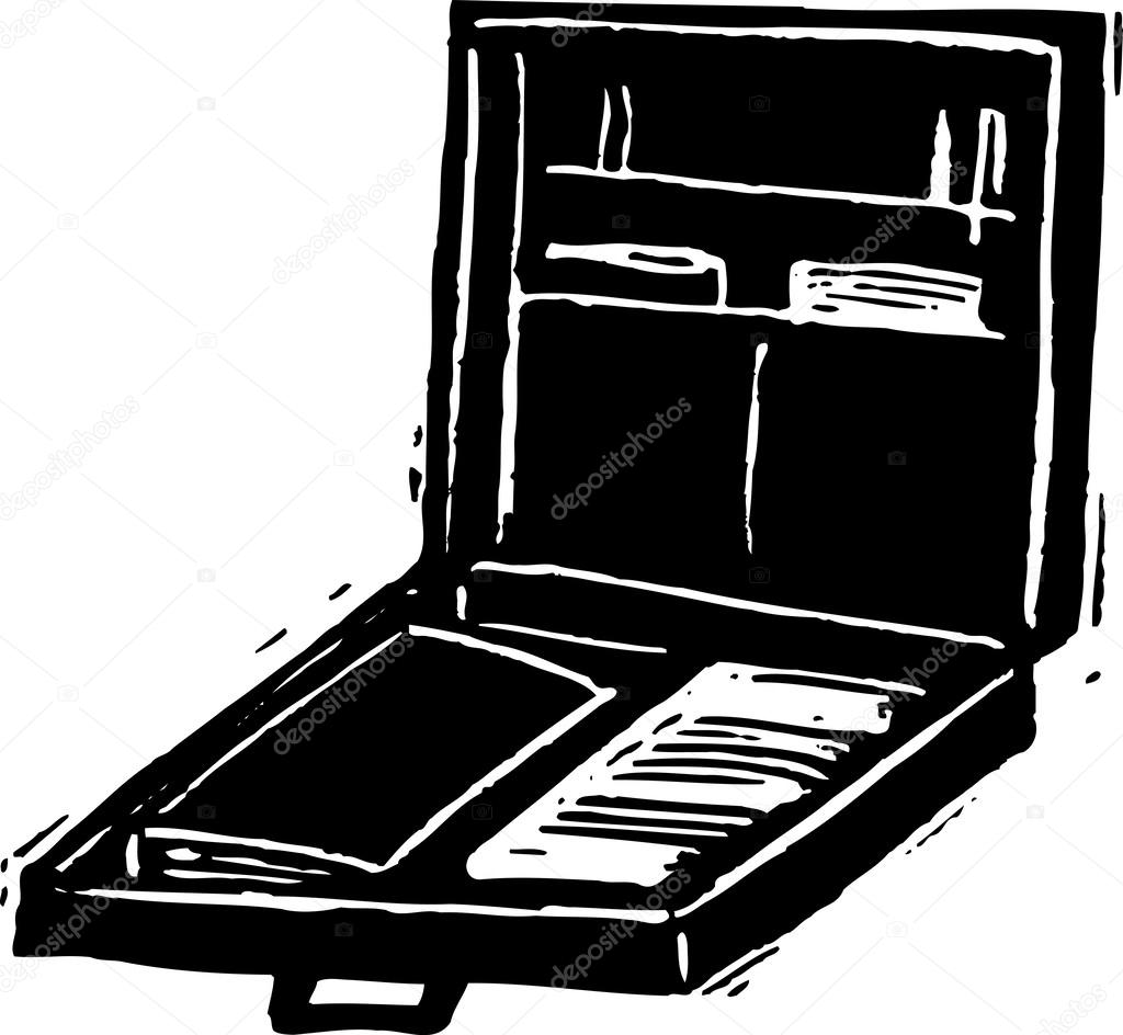 Open Briefcase Vector Black And White Vector Illustration of Open Briefcase Vector by Ronjoe
