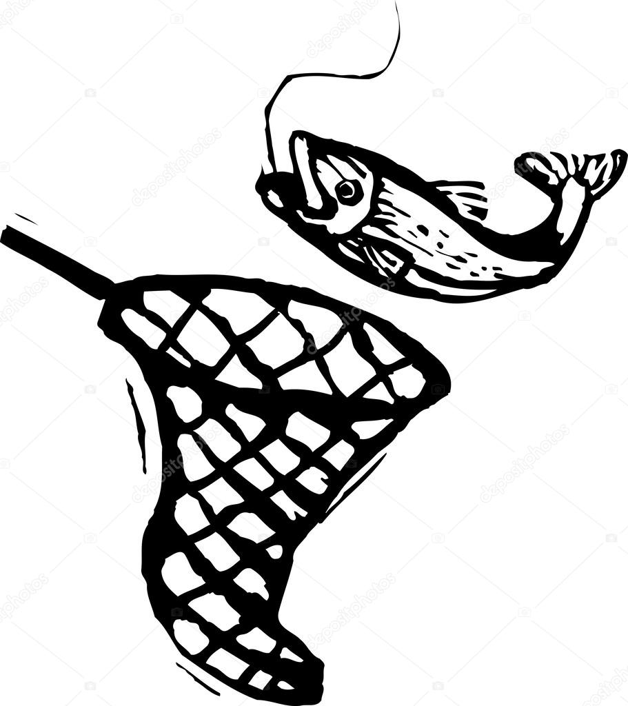 Vector Illustration Of Caught Fish And Fish Net Stock