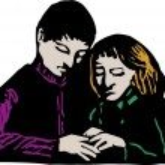 Woodcut Illustration of Man Giving Comfort to Sad Woman — Stock Vector #29511323