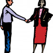 Woodcut Illustration of Man and Woman Shaking Hands — Stock Vector