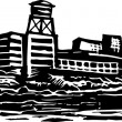 Woodcut illustration of Alcatraz Island Federal Prison — Image vectorielle