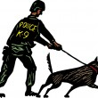 Woodcut Illustration of K9 Policeman and Police Dog — Vector de stock