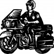 Woodcut Illustration of Motorcycle Cop or Policeman — Vettoriale Stock #29512143