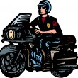 Stockvector : Woodcut Illustration of Motorcycle Cop or Policeman