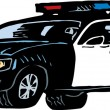 Vettoriale Stock : Woodcut Illustration of Police Car or Cruiser