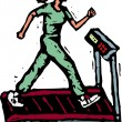 Stock Vector: Woodcut Illustration of Women Getting Cardiovascular Exercise on Treadmill