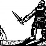 Постер, плакат: Vector Illustration of David and Goliath