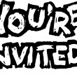 Woodcut Illustration of You're Invited — Stockvektor