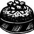 Vector Illustration of Christmas Fruitcake — Stock vektor
