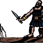 Постер, плакат: Illustration of David and Goliath