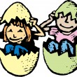 Woodcut Illustration of Boy and Girl in Giant Easter Eggs — Vettoriali Stock