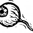 Woodcut Illustration of Eyeball — Imagen vectorial