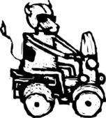 Ilustração em xilogravura de vaca — Vetor de Stock