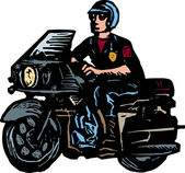 Woodcut Illustration of Motorcycle Cop or Policeman — Stock Vector