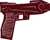 Ilustración de xilografía de pistola — Vector de stock