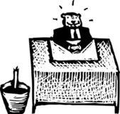 Ilustración de xilografía del castor — Vector de stock