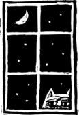 Ilustração em xilogravura de peeping tom cat — Vetorial Stock