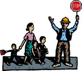 Woodcut Illustration of Crossing Guard with Mother and Children Crossing Street — Vettoriale Stock