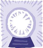 Icono ilustración xilografía de la bola de cristal — Vector de stock