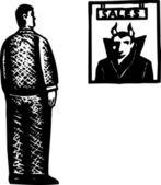 ксилография иллюстрация дьявола как продавец — Cтоковый вектор