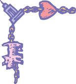 Woodcut Illustration of Charm Bracelet Border — Stock Vector