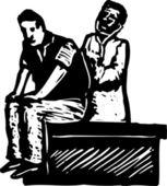 Illustrazione di xilografia del paziente esame medico maschio — Vettoriale Stock
