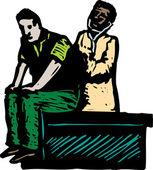 男医生检查病人的木刻插图 — 图库矢量图片