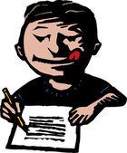 Little Boy Writing letter — Stock Vector