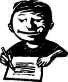 маленький мальчик писать письмо — Cтоковый вектор