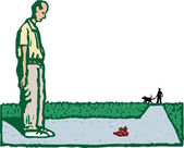 Woodcut Illustration of Man Looking at Dog Poop on Sidewalk — Stock Vector
