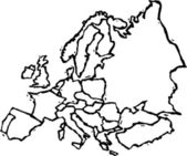 Vector Illustration of Map of European Subcontinent — Vector de stock