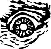 Woodcut Illustration of Evil Eye — Stock Vector