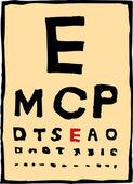 Woodcut Illustration of Eye Chart — Stock Vector