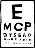 Träsnitt illustration av öga diagram — Stockvektor