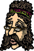Woodcut Illustration of Hippie Man Face — Vector de stock