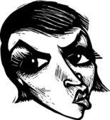 Illustration de la gravure sur bois de visage de femme en colère — Vecteur