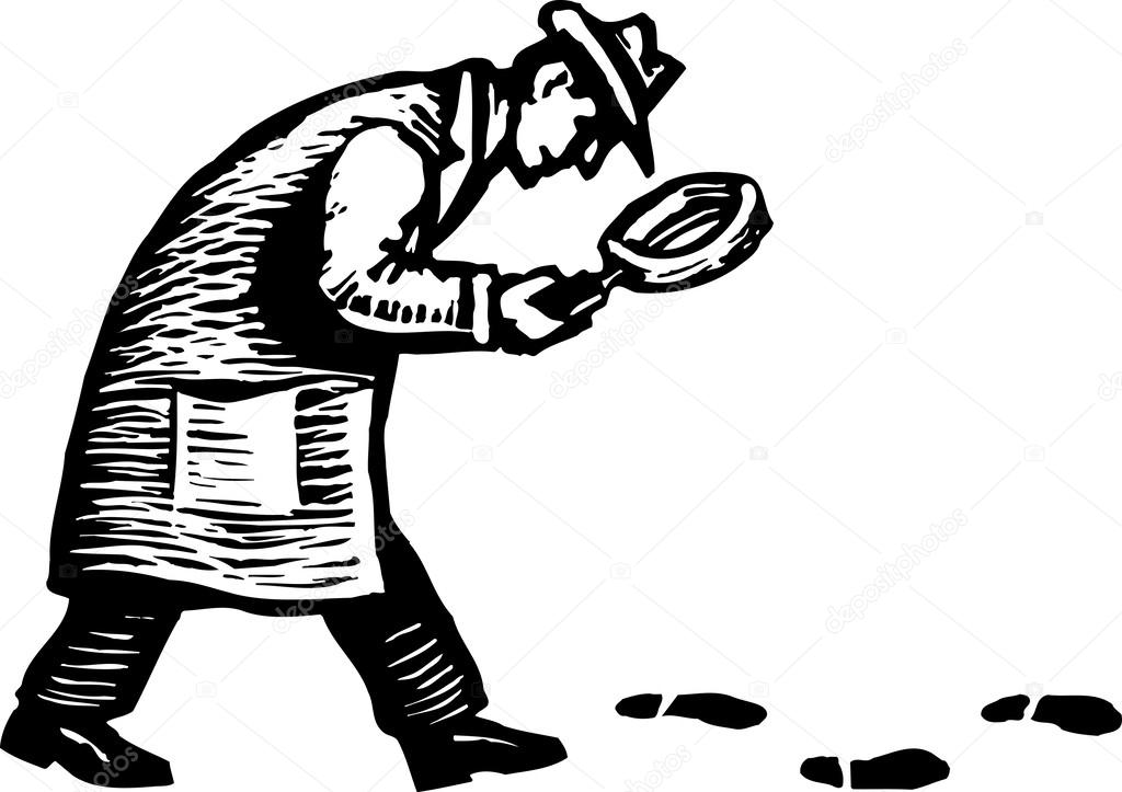 Woodcut Illustration Of Detective With Magnifying Glass