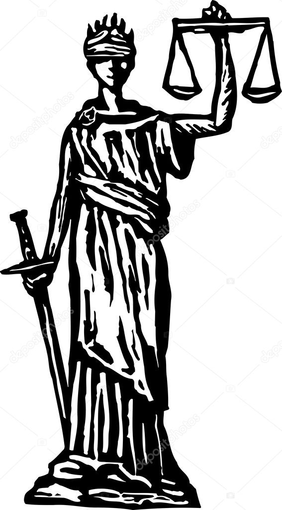 woodcut illustration of lady justice or scales of justice