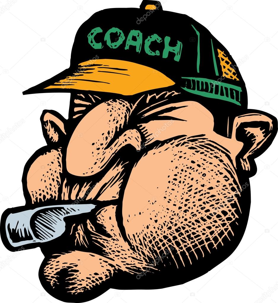Sports Coach Whistle Coach blowing whistle face
